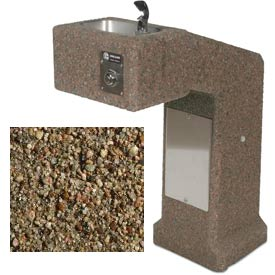 Concrete Freeze Resistant Outdoor Drinking Fountain ADA - Tan River Rock