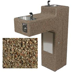 Concrete Freeze Resistant Dual Outdoor Drinking Fountain ADA - Tan River Rock