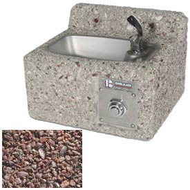 Concrete Freeze Resistant Wall-Mount Outdoor Drinking Fountain - Red Quartzite