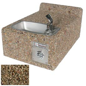 Concrete Freeze Resistant Wall-Mount Outdoor Drinking Fountain ADA - Tan