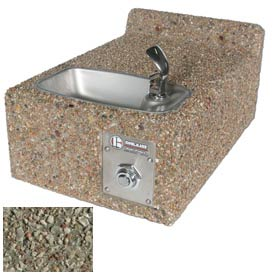 Outdoor Drinking Fountain - Wall Mount, ADA Accessible, Gray Limestone