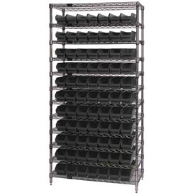 "Quantum WR12-101 Chrome Wire Shelving With 77 4""H Shelf Bins Black, 12x36x74"