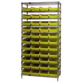 "Chrome Wire Shelving with 44 4""H Plastic Shelf Bins Yellow, 36x14x74"