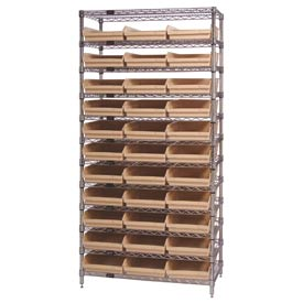 "Chrome Wire Shelving with 33 4""H Plastic Shelf Bins Stone, 36x14x74"