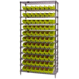 "Chrome Wire Shelving with 77 4""H Plastic Shelf Bins Yellow, 36x18x74"