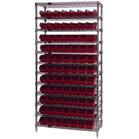 "Chrome Wire Shelving with 77 4""H Plastic Shelf Bins Red, 36x18x74"