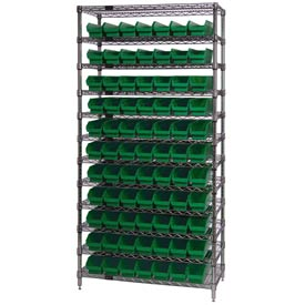 "Chrome Wire Shelving with 77 4""H Plastic Shelf Bins Green, 36x24x74"