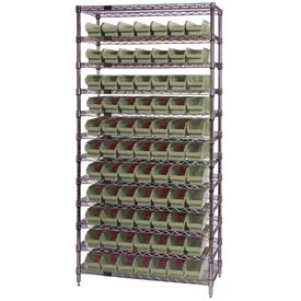 "Chrome Wire Shelving with 77 4""H Plastic Shelf Bins Stone, 36x24x74"