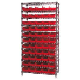 "Chrome Wire Shelving with 55 4""H Plastic Shelf Bins Red, 36x24x74"