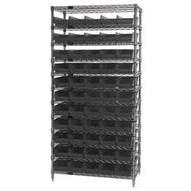 "Quantum WR12-106 Chrome Wire Shelving With 55 4""H Shelf Bins Black, 24x36x74"