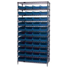 "Chrome Wire Shelving with 44 4""H Plastic Shelf Bins Blue, 36x24x74"