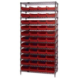 "Chrome Wire Shelving with 44 4""H Plastic Shelf Bins Red, 36x24x74"