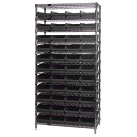 "Quantum WR12-114 Chrome Wire Shelving With 44 4""H Shelf Bins Black, 24x36x74"