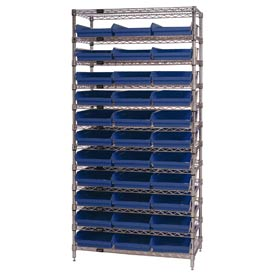 "Chrome Wire Shelving with 33 4""H Plastic Shelf Bins Blue, 36x24x74"