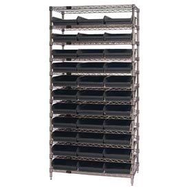 "Quantum WR12-116 Chrome Wire Shelving With 33 4""H Shelf Bins Black, 24x36x74"