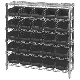 "Quantum WR1236-102 Chrome Wire Shelving With 25 4""H Shelf Bins Black, 12x36x36"