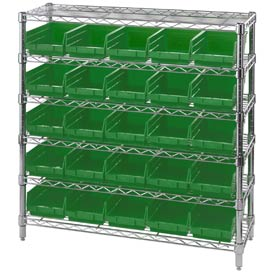 "Chrome Wire Shelving with 25 4""H Plastic Shelf Bins Green, 36x14x36"