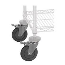 Quantum WR00H For Chrome Wire Shelving 4 Swivel with 2 Brakes, Caster Kit