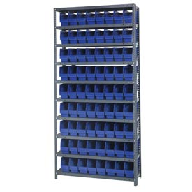"Quantum 1275-201 Steel Shelving With 72 6""H Shelf Bins Blue, 36x12x75-10 Shelves"