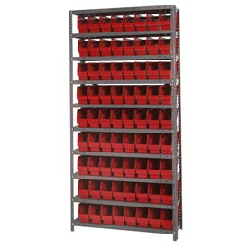 "Quantum 1275-201 Steel Shelving With 72 6""H Shelf Bins Red, 36x12x75-10 Shelves"