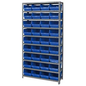 "Quantum 1275-207 Steel Shelving With 36 6""H Shelf Bins Blue, 36x12x75-10 Shelves"