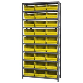 "Quantum 1275-209 Steel Shelving With 27 6""H Shelf Bins Yellow, 36x12x75-10 Shelves"