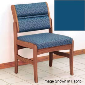 Guest Chair w/o Arms - Medium Oak/Blue Vinyl