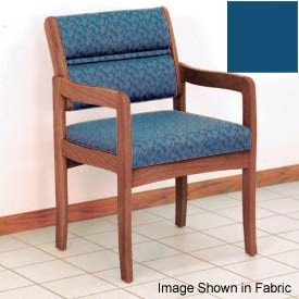 Guest Chair w/ Arms - Medium Oak/Blue Vinyl