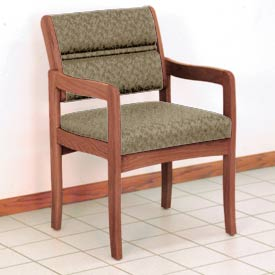 Guest Chair w/ Arms - Medium Oak/Taupe Leaf Pattern Fabric