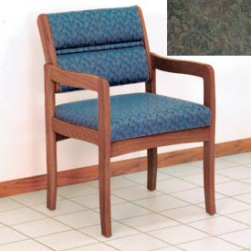 Guest Chair w/ Arms - Medium Oak/Green Water Pattern Fabric