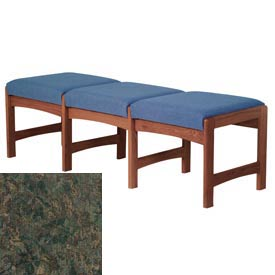 Three Person Bench - Mahogany/Green Water Pattern Fabric