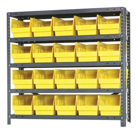"Quantum 1239-202 Steel Shelving With 20 6""H Shelf Bins Yellow, 36x12x39-5 Shelves"