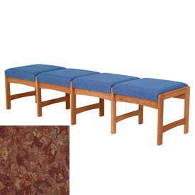 Four Person Bench - Medium Oak/Rose Water Pattern Fabric