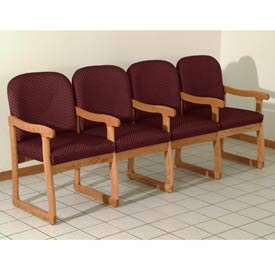 Quadruple Sled Base Chair w/ Arms - Medium Oak/Burgundy Arch Pattern Fabric