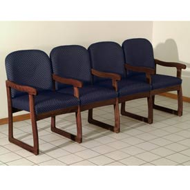 Quadruple Sled Base Chair w/ Arms - Mahogany/Blue Arch Pattern Fabric
