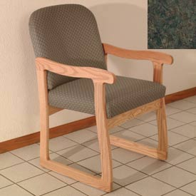 Single Sled Base Chair w/ Arms - Light Oak/Green Water Pattern Fabric