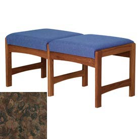 Two Person Bench - Mahogany/Earth Water Pattern Fabric