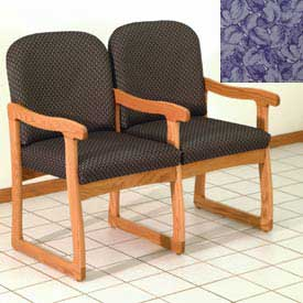 Double Sled Base Chair w/ Arms - Medium Oak/Blue Leaf Pattern Fabric