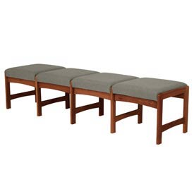 Four Person Bench - Mahogany/Gray Fabric