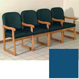Quadruple Sled Base Chair w/ Arms - Medium Oak/Blue Vinyl