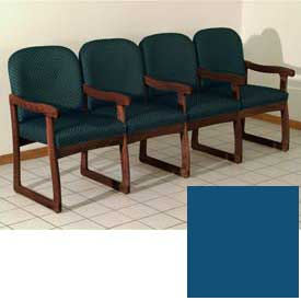 Quadruple Sled Base Chair w/ Arms - Mahogany/Blue Vinyl