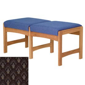 Two Person Bench - Medium Oak/Gray Arch Pattern Fabric