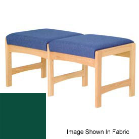 Two Person Bench - Light Oak/Green Vinyl