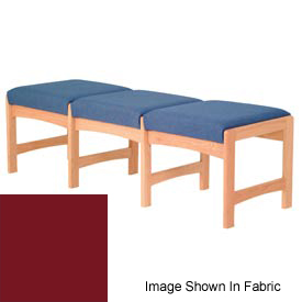 Three Person Bench - Light Oak/Burgundy Vinyl