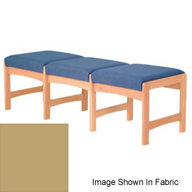 Three Person Bench - Light Oak/Cream Vinyl