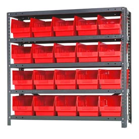"Quantum 1239-202 Steel Shelving With 20 6""H Shelf Bins Red, 36x12x39-5 Shelves"