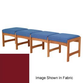 Four Person Bench - Medium Oak/Burgundy Vinyl