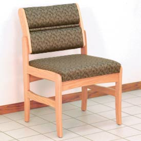 Guest Chair w/o Arms - Light Oak/Taupe Leaf Pattern Fabric