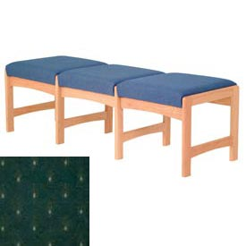 Three Person Bench - Light Oak/Green Arch Pattern Fabric