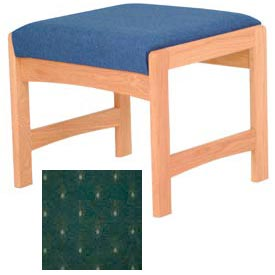 One Person Bench - Light Oak/Green Arch Pattern Fabric